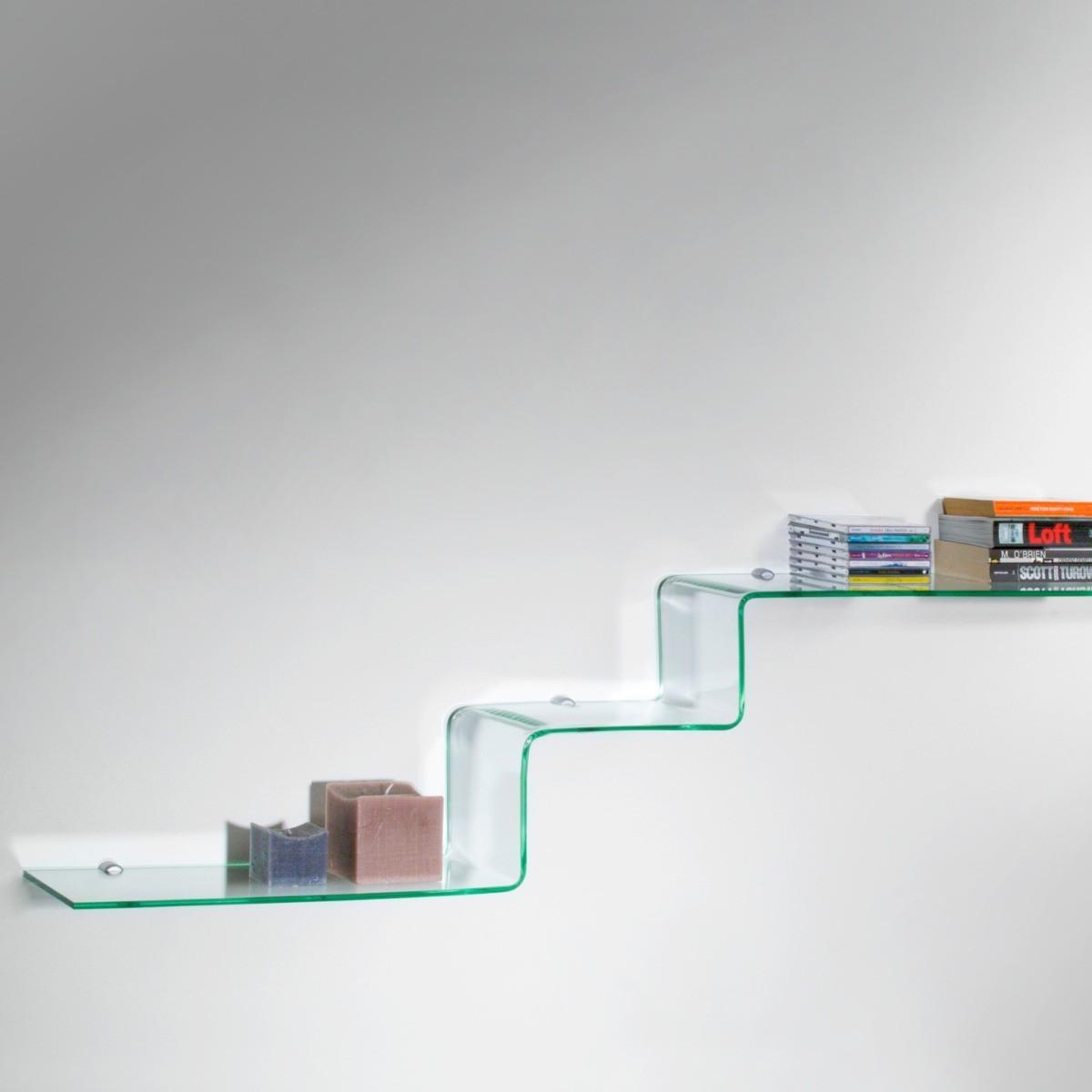 Step mensole design in vetro curvato trasparente 100 cm for Leroy merlin librerie metallo