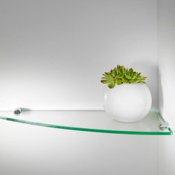 Angolino set di 5 mensole angolari in vetro trasparente 50 cm