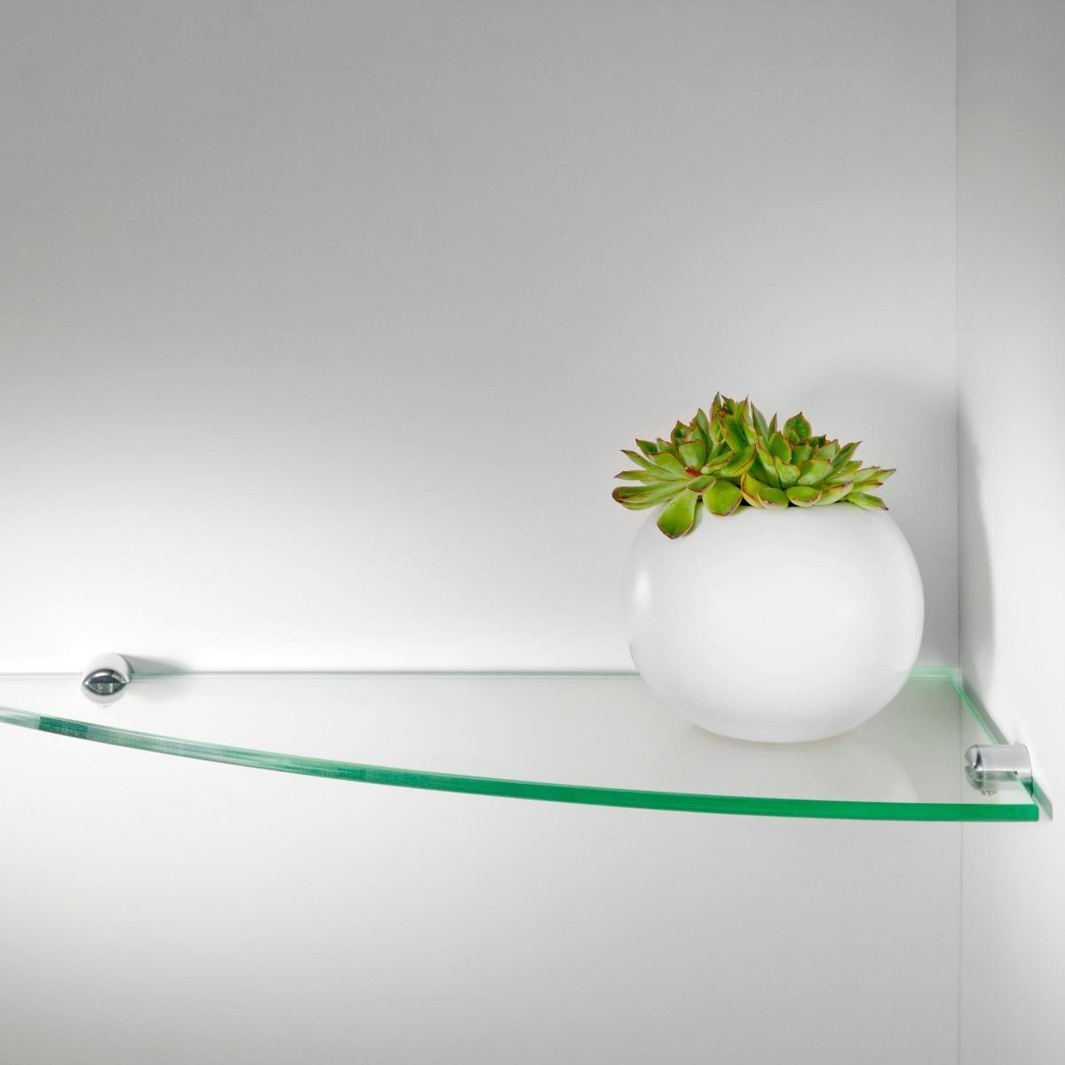 Angolino set di 5 mensole angolari in vetro trasparente 50 cm - Mensole angolari bagno ...