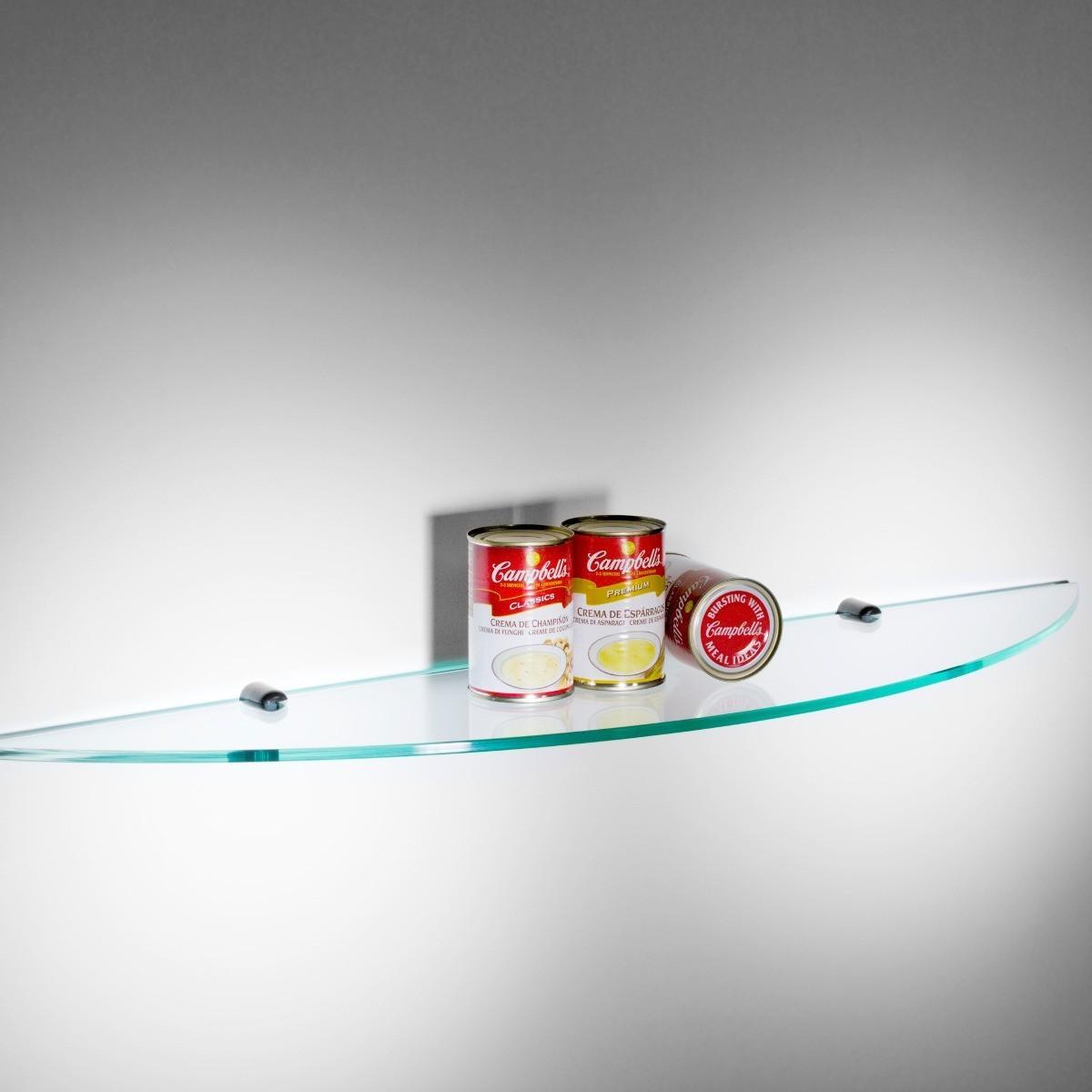 Spicchio mensola da cucina in vetro trasparente 90 cm - Mensole bagno plexiglass ...