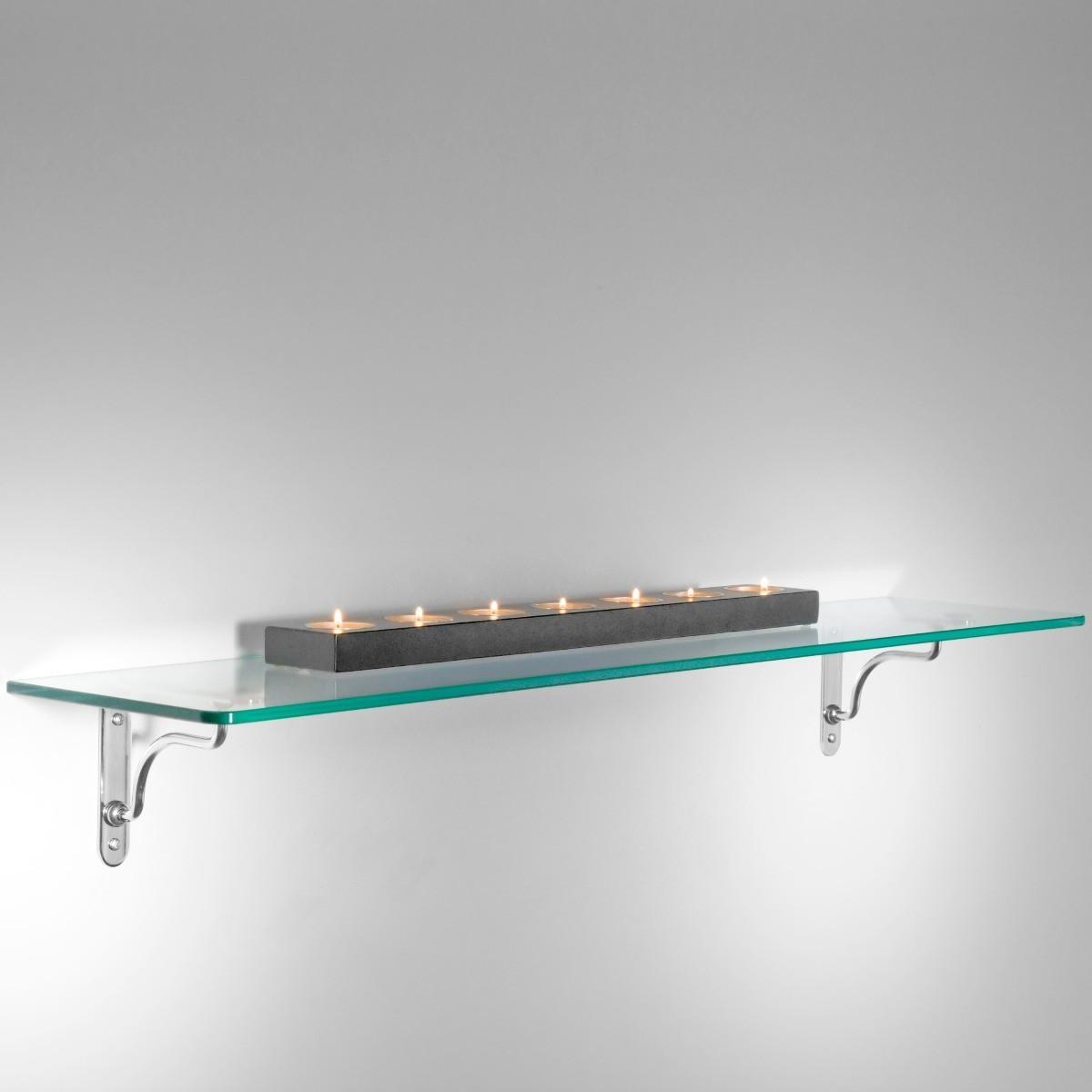 Linea maxi set di 5 mensole in vetro trasparente 90 cm for Staffe per mensole leroy merlin