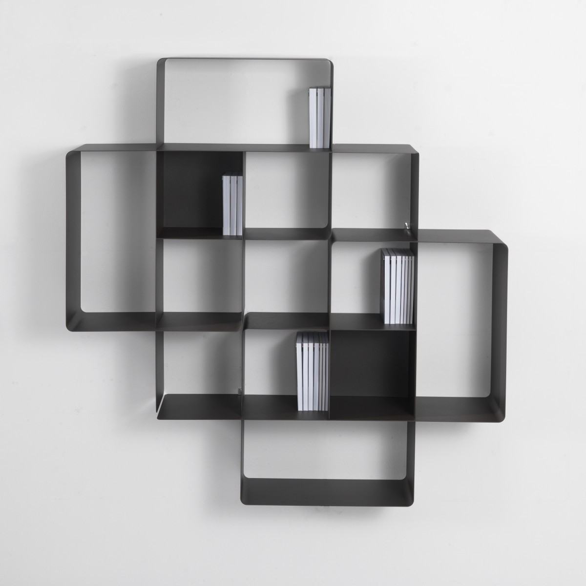Mondrian libreria a parete moderna in metallo componibile design - Libreria a parete ...