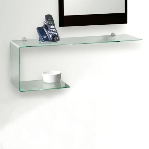 Mensola ripiano in vetro curvato trasparente 75 cm Flexi