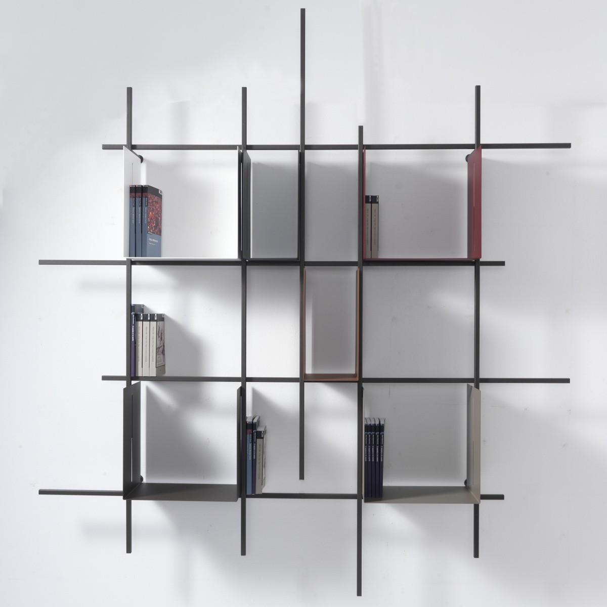 Libreria a parete moderna libra2 in acciaio tubolare - Porta dvd da parete ...