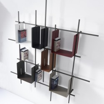 Libreria a parete moderna in acciaio tubolare Libra2