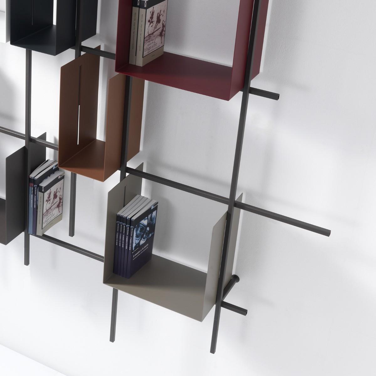 Libreria a parete moderna in acciaio tubolare libra2 for Parete decorata moderna