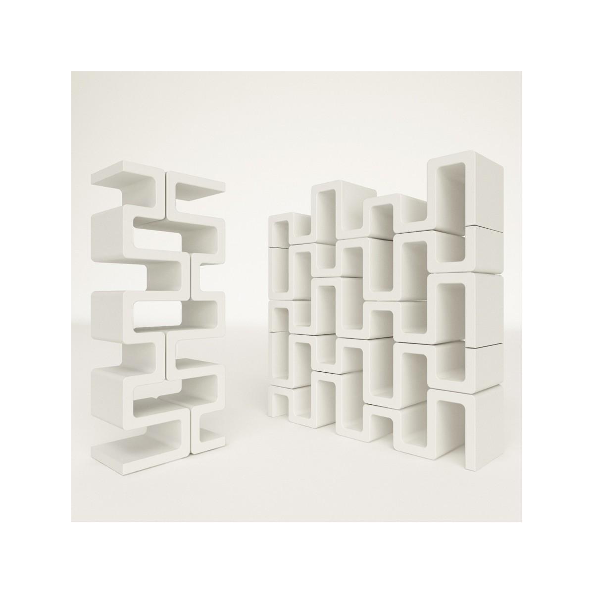 Libreria verticale Sisma modulare in adamantx bianco 35 x 143 cm