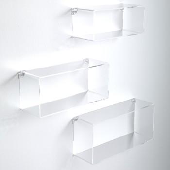 Set di 3 cubi mensole Klever da parete in metacrilato