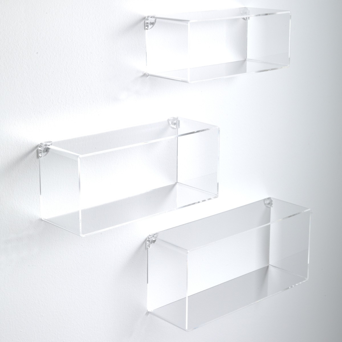 Set di 3 cubi mensole da parete in metacrilato klever for Libreria cubi ikea