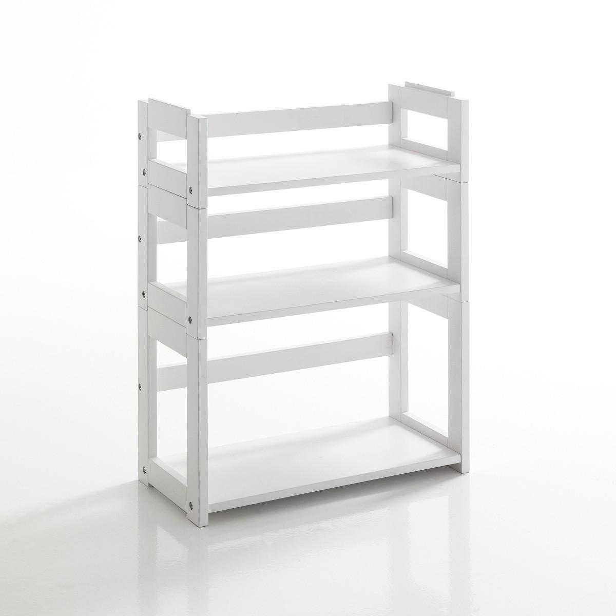 Libreria modulare sheva 3 ripiani in legno massello bianco for Librerie in legno componibili