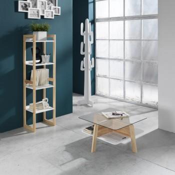 Libreria a colonna verticale in legno massello rovere Benjy