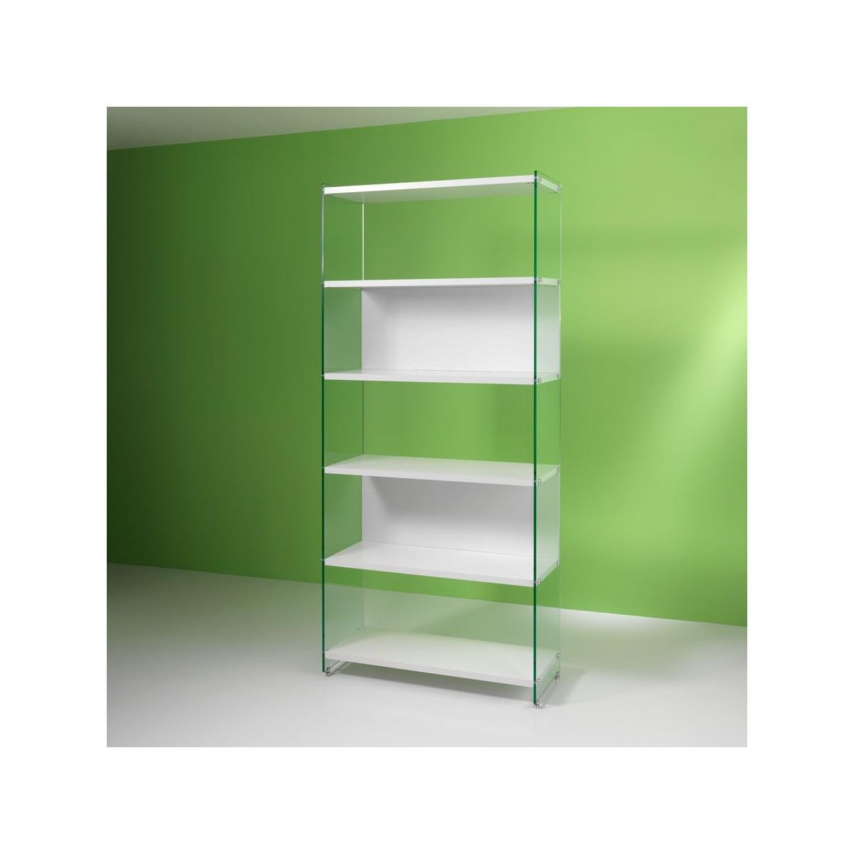 byblos a colonna in legno e vetro 202 cm - Scaffali Metallo E Vetro