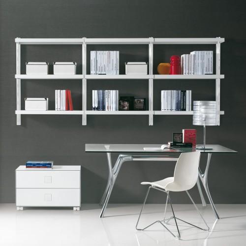 Scaffalatura metallica Big 6 da parete in acciaio bianco 245 x 32 x h106 cm