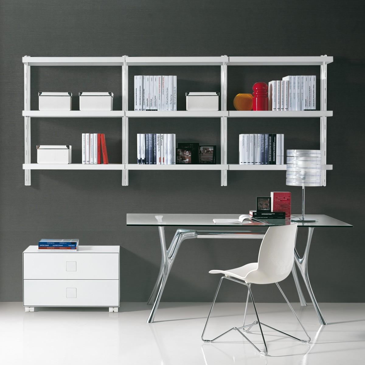 Scaffalatura metallica big 6 da parete in acciaio bianco for Scaffalatura libreria