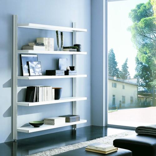 Scaffale metallico Brody da parete in acciaio bianco 125 x 32 x h203 cm