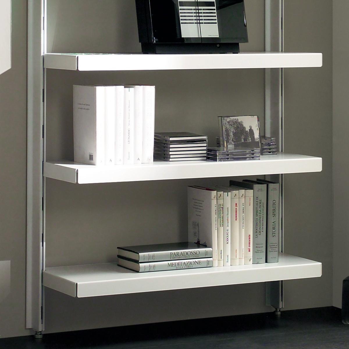 Scaffale in metallo big 15 a muro in acciaio bianco 85 x for Libreria a muro bianca