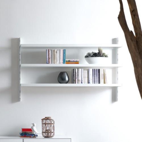 Scaffale a muro Big 39 in alluminio e acciaio bianco 165 x 32 x h106 cm