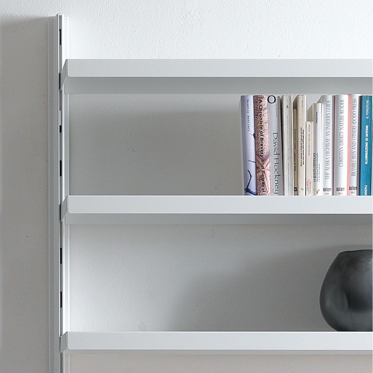 Scaffale a muro big 39 in alluminio e acciaio bianco 165 x for Scaffali a parete
