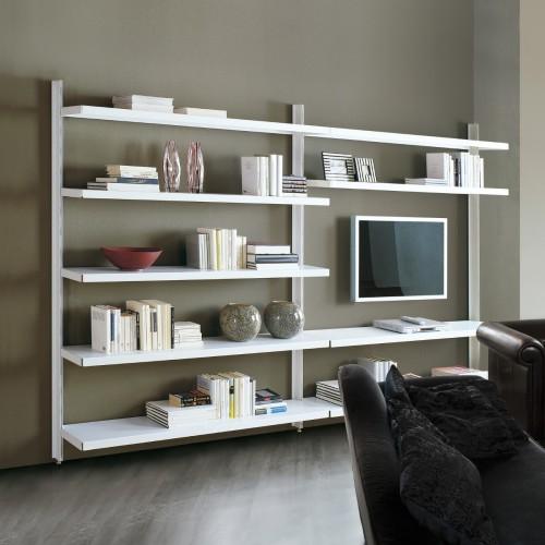 Scaffalatura metallica Big 12 in acciaio e alluminio per soggiorno 325 x 32 x h203 cm