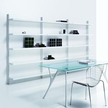 Scaffalatura libreria a muro in acciaio design moderno Big 7