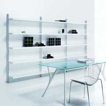 Scaffalatura libreria Big 7 a muro in acciaio bianco 365 x 32 x h203 cm