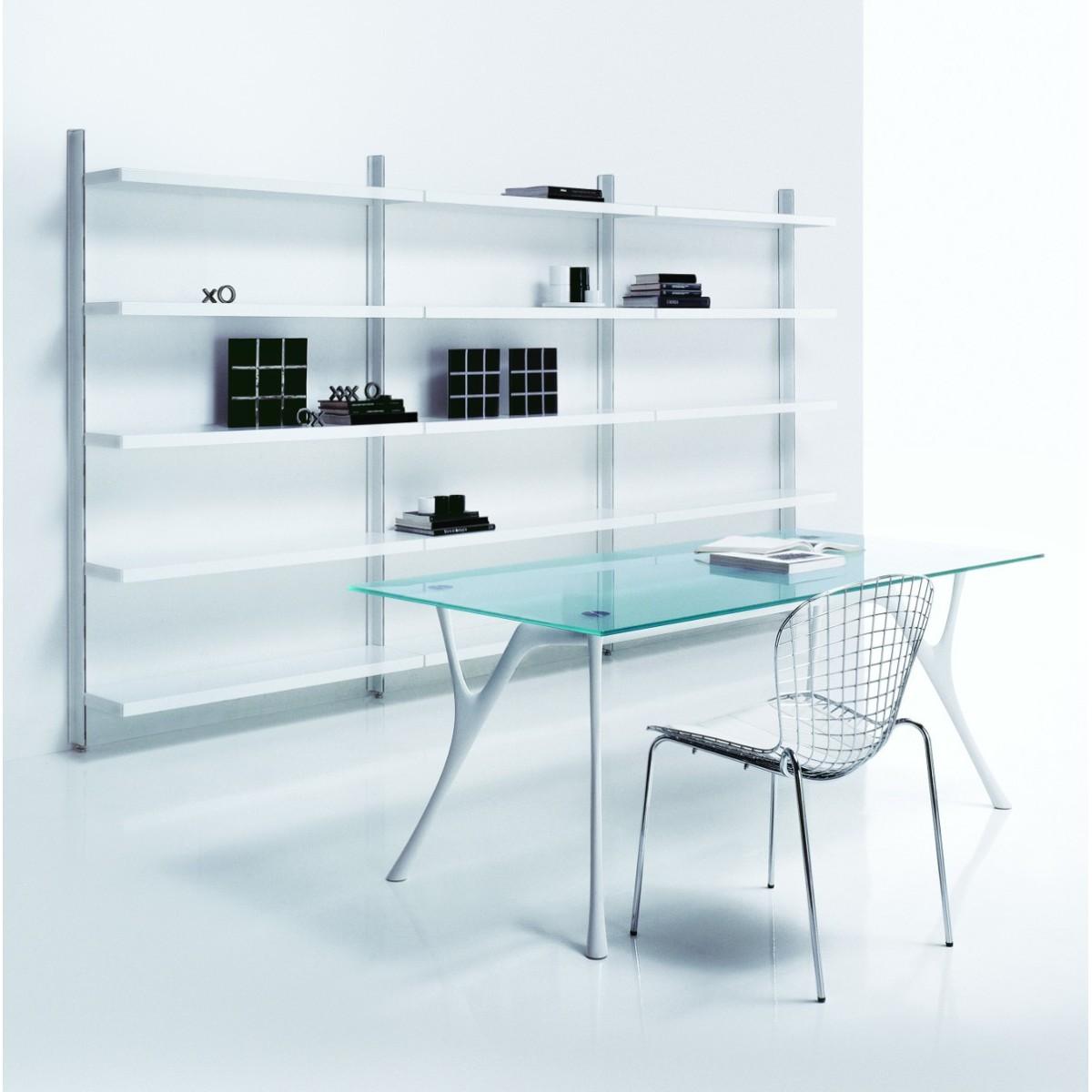 scaffalatura libreria big 7 a muro in acciaio bianco 365 x