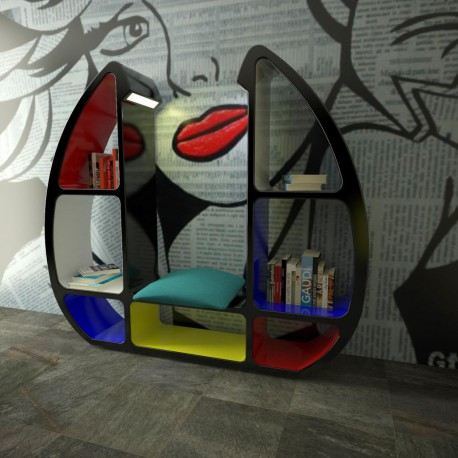 Libreria design Shelley ZAD Italy con luce LED 215 x 190 cm