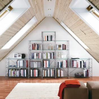 Socrate 43 libreria per mansarda in acciaio e vetro 365 x 35 x h86/162/200 cm