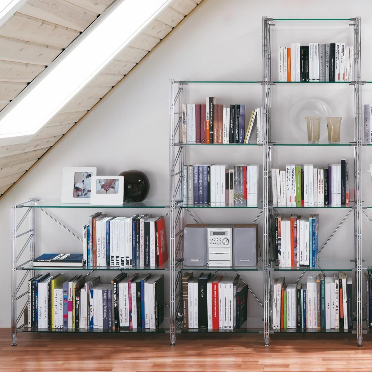 Librerie Componibili Per Mansarda.Libreria Per Mansarda In Acciaio E Vetro Design Moderno Socrate 43