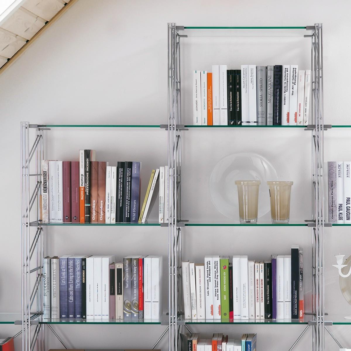 Teodor libreria per mansarda in acciaio e vetro 365 x 35 x for Libreria acciaio e vetro
