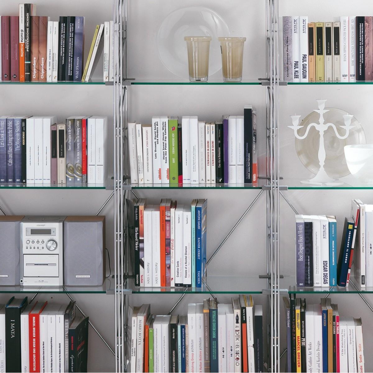 43 libreria per mansarda in acciaio e vetro 365 x 35 x h86/162/200 cm - Scaffali Metallo E Vetro