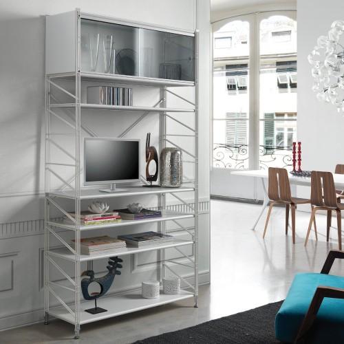 Socrate 151 libreria scaffale per soggiorno in acciaio bianco 100 x 35 x h200 cm