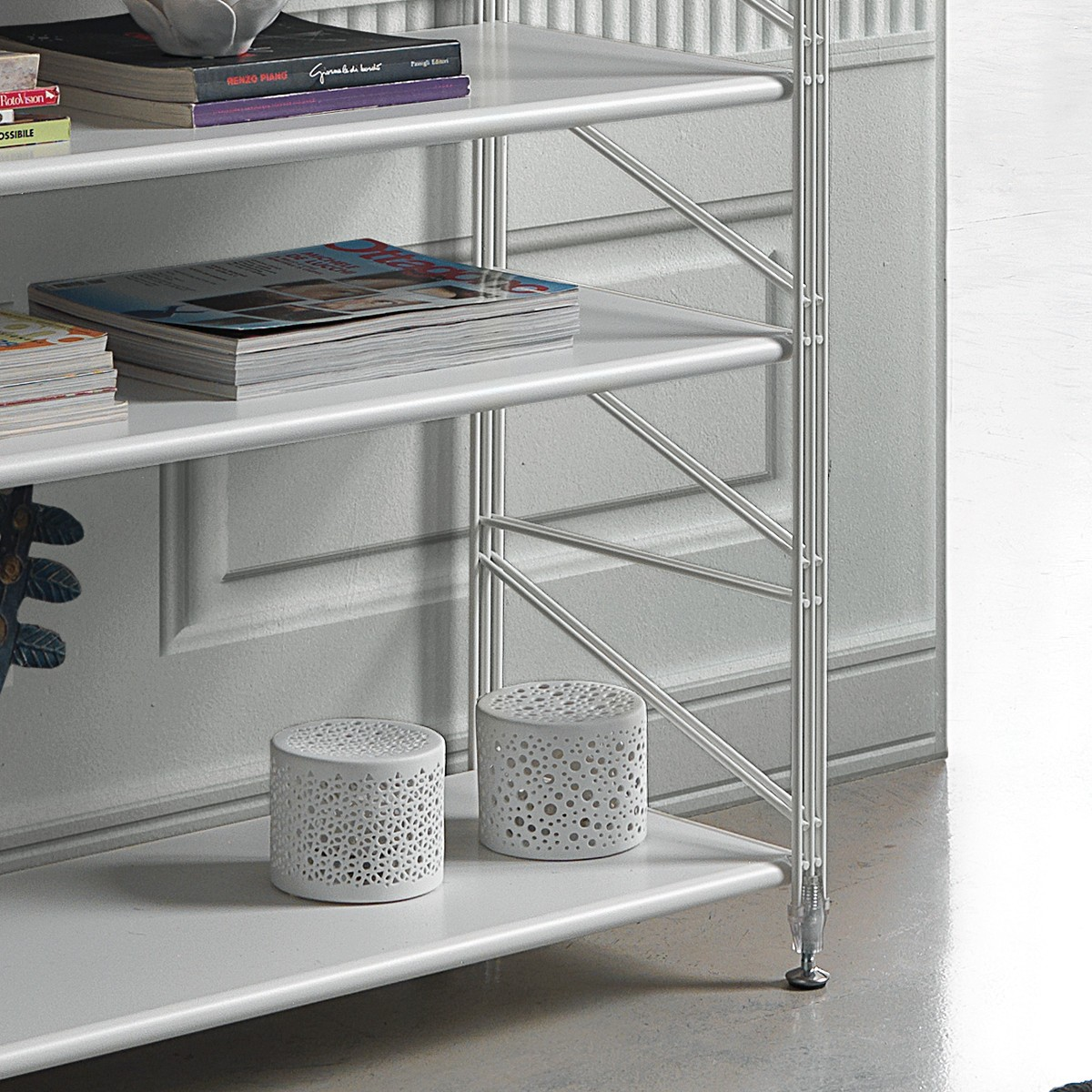 Socrate libreria scaffale per soggiorno in acciaio bianco - Scaffale per cucina ...