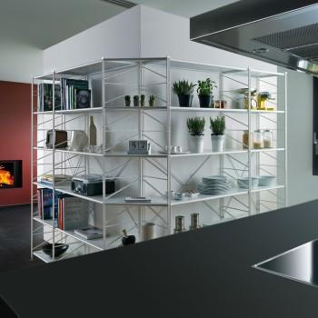Socrate 155 libreria angolare componibile in acciaio 156+156 x 35 x h200 cm