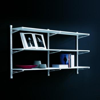 Socrate 24 scaffale libreria a muro in acciaio bianco 196 x 37 x h100 cm