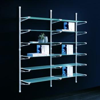 Scaffale a parete verticale in acciaio bianco e vetro Socrate 40