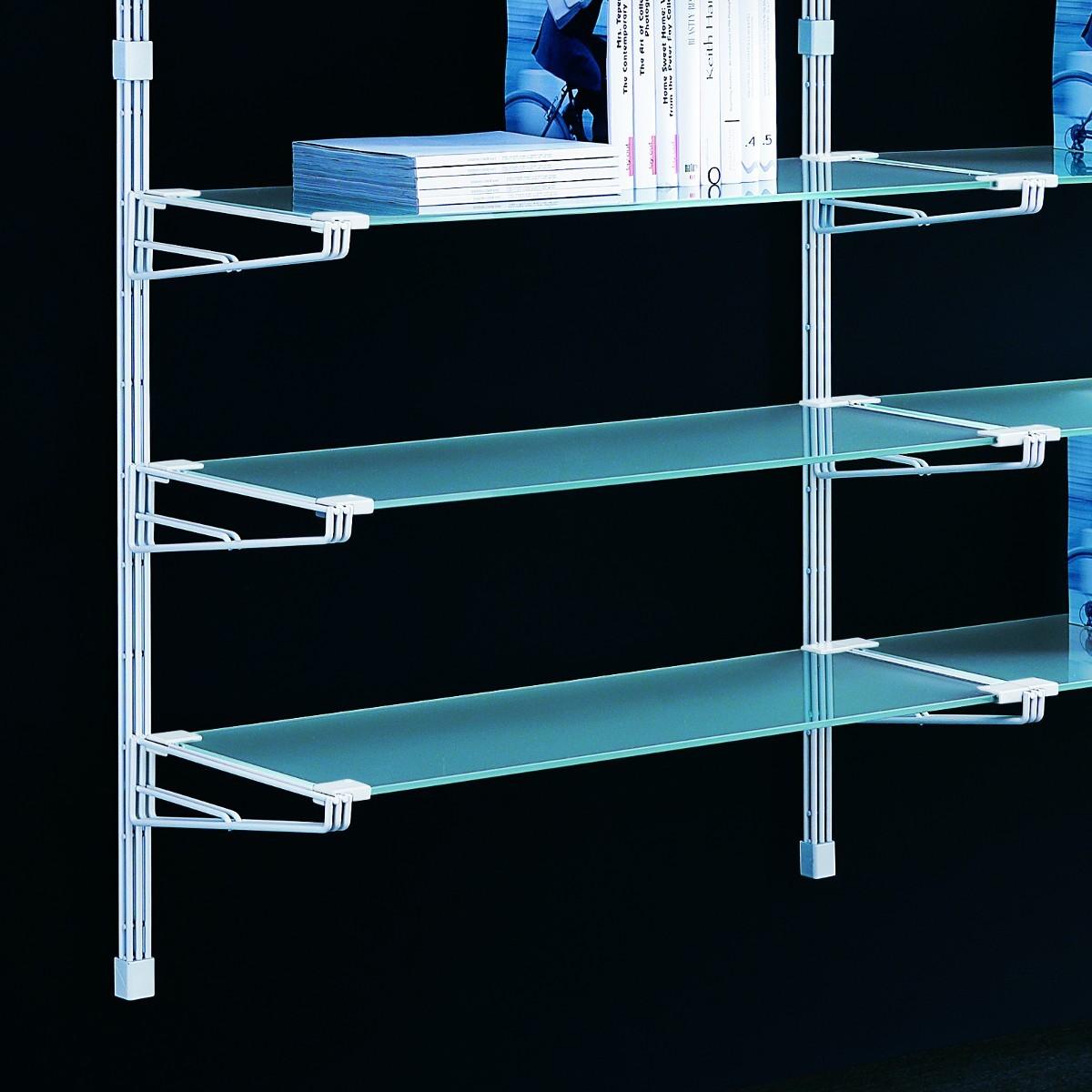 Socrate 40 scaffale a parete in acciaio bianco e vetro 196 for Scaffali per ufficio acciaio
