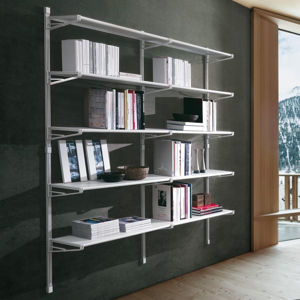 Libreria a parete casa ufficio in acciaio socrate 39 - Libreria a parete ...