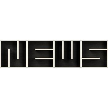 ABC NEWS libreria componibile con cubi lettere in legno 204 x 51 cm