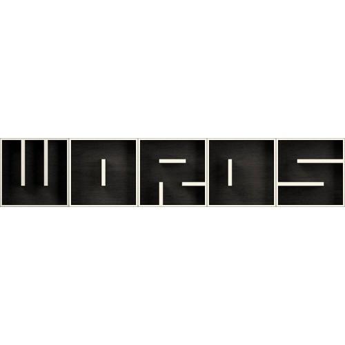 ABC WORDS cubi da parete in legno bianco nero 255 x 51 cm