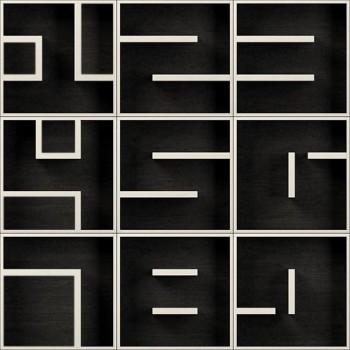 ABC 123456789 cubi libreria design in legno bianco nero 153 x 153 cm