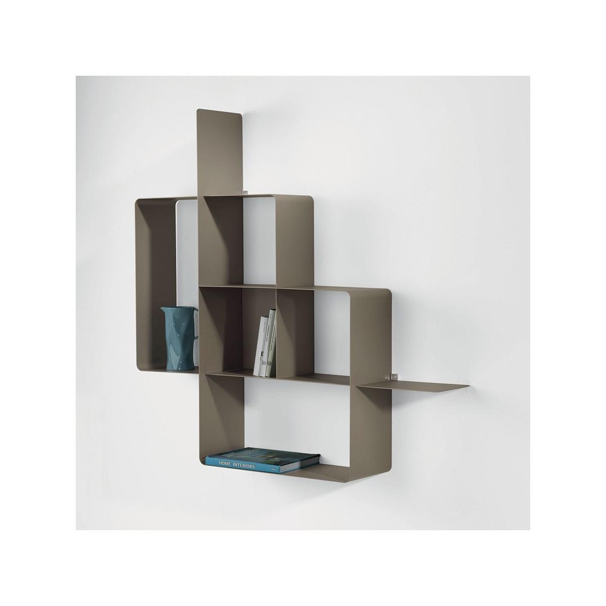 mondrian libreria a parete moderna in metallo componibile. Black Bedroom Furniture Sets. Home Design Ideas