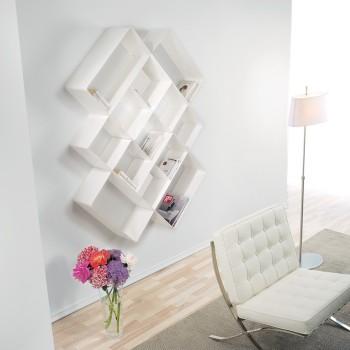 Libreria design Mondrian-3 acciaio fucsia bianco lilla 125x25x166 cm