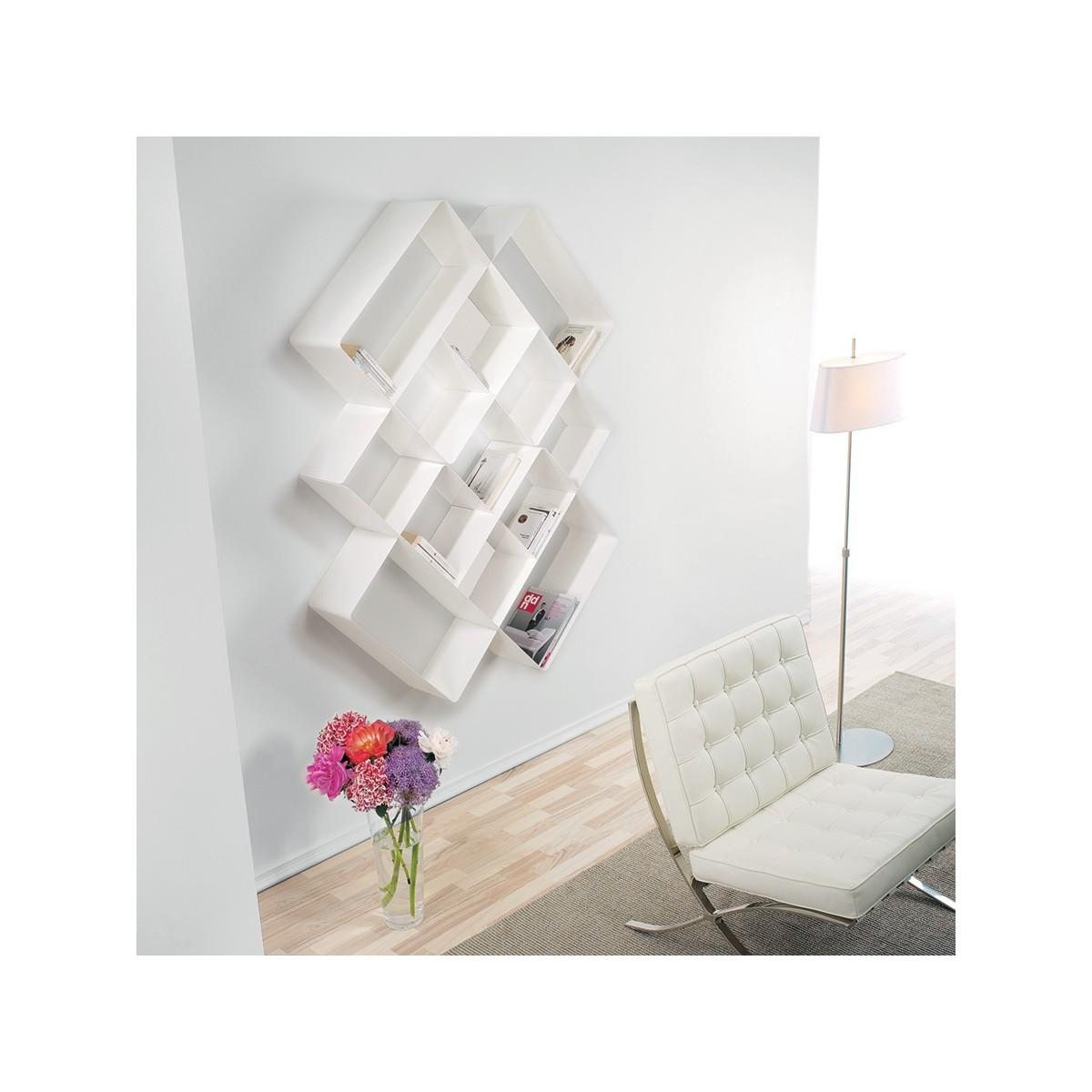 Libreria design mondrian 3 in acciaio bianco sabbiato for Lampade da parete design economiche