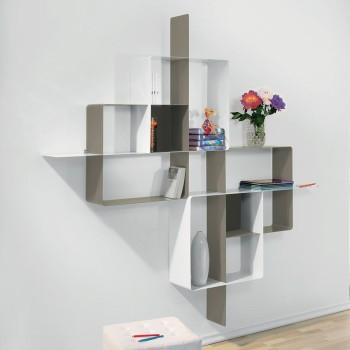 Libreria scaffalatura in acciaio tortora bianco Mondrian-5