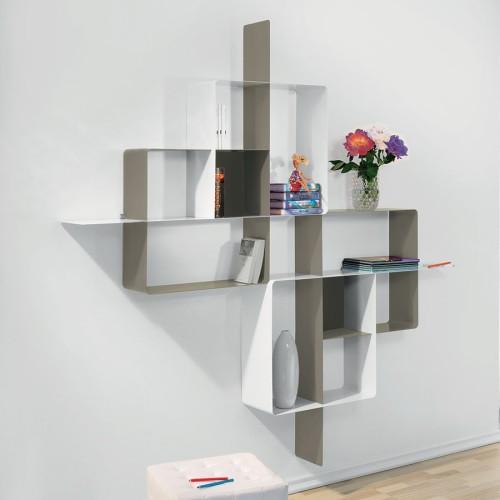 Libreria scaffalatura mondrian 5 in acciaio tortora bianco for Librerie componibili moderne