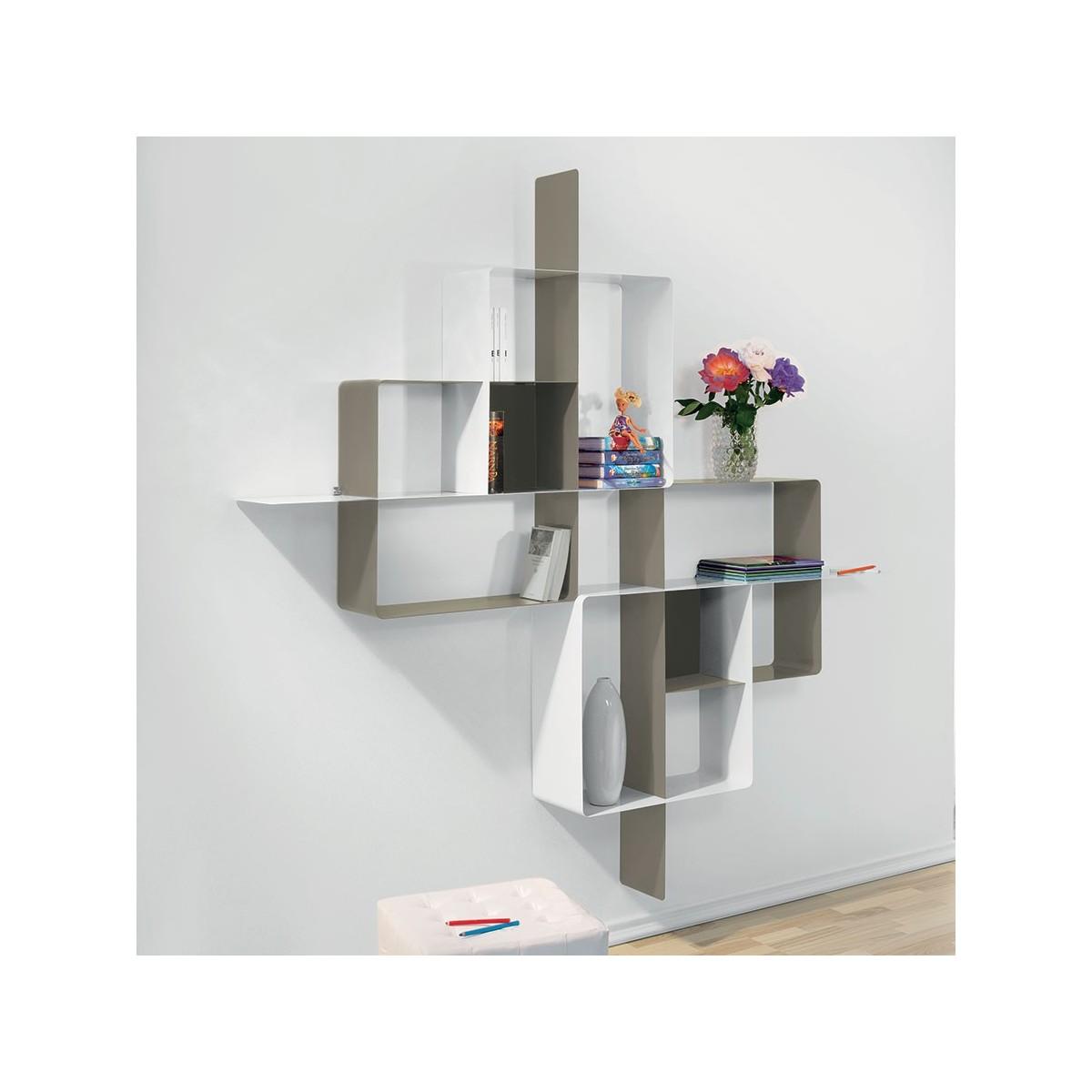 Libreria scaffalatura in acciaio tortora bianco mondrian 5 - Libreria a parete ...