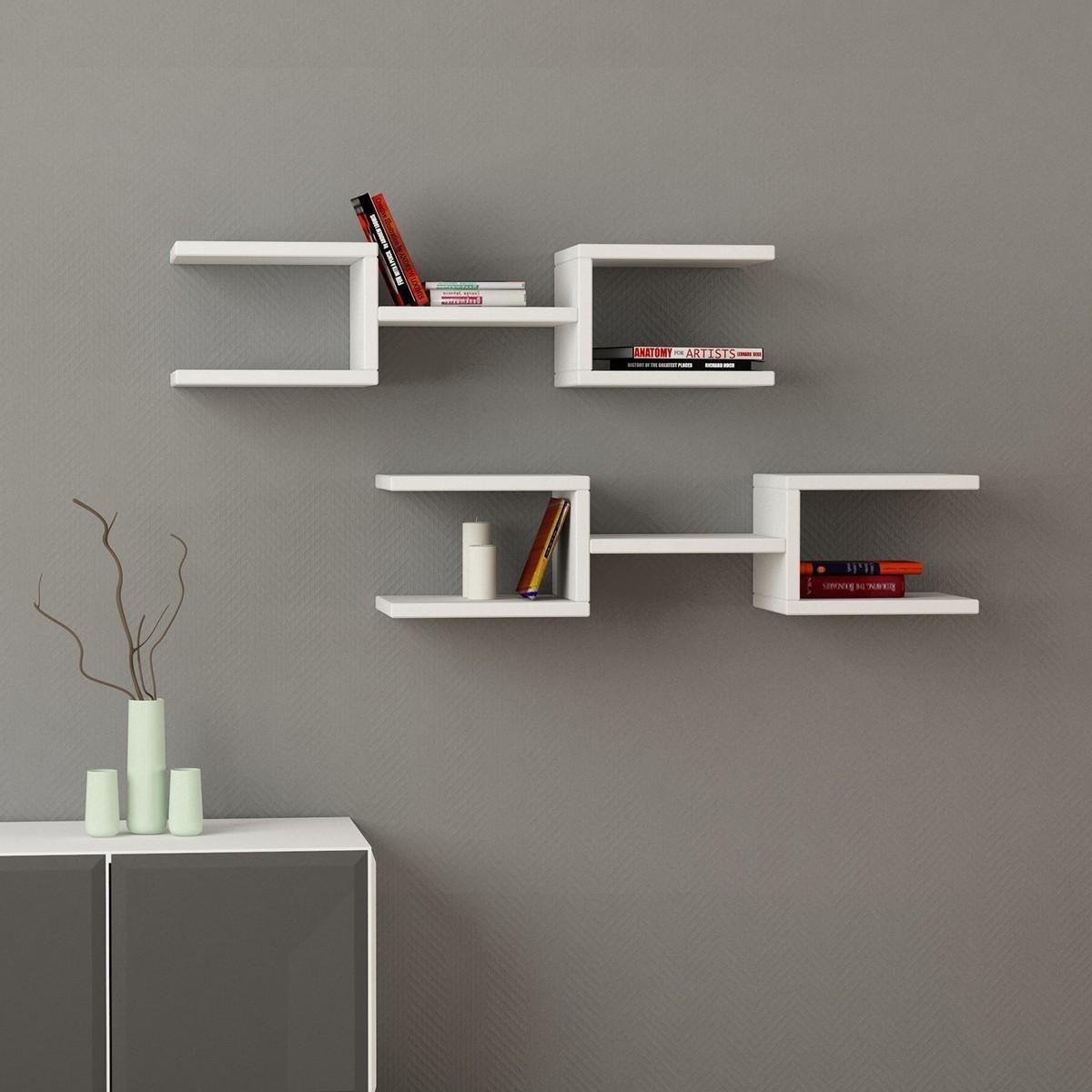 dandy coppia mensole muro design moderno in legno 75 cm