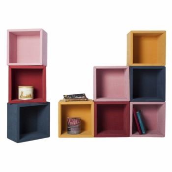 Fabric set di 9 mensole cubi per arredo da parete 30 x 30 cm