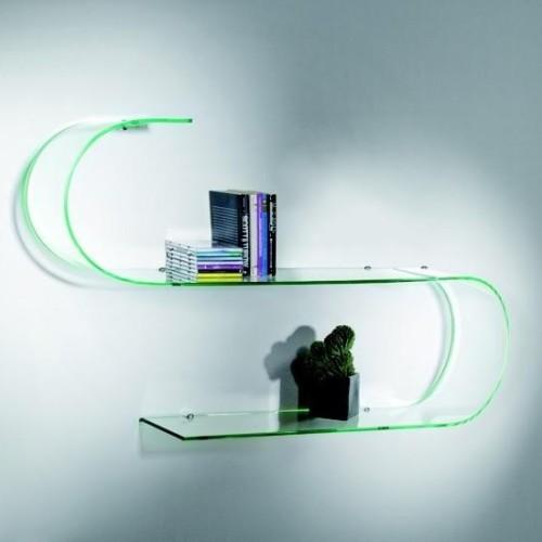 Mensole in vetro curvato trasparente 100 cm Surf